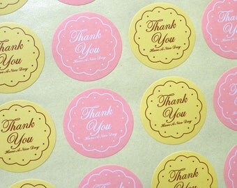 White and Yellow Circle Thank You Stickers. Self Adhesive Stickers. 120 Stickers!