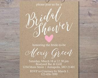 Rustic Bridal Shower Invitation, Kraft Paper Bridal Shower Invitation, Shabby Chic Invitation, Bridal Shower Invitation, Country Invite