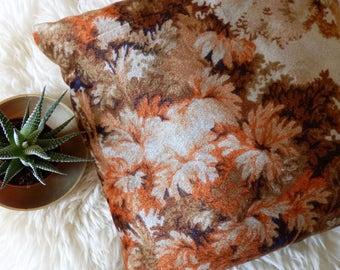 Vintage 1970's Velvet Floral Pillow, Bohemian, Boho Pillow, Orange and Brown, Throw Pillow, Decorative Pillow