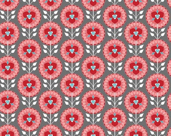 Red Floral Fabric/ Medallion Fabric/ Gray and Red/ Desert Bloom Fabric/ Riley Blake Fabric/ Fabric by the Yard/ Red Floral Cotton