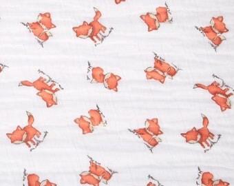 Fox Swaddle / Gauze / Muslin Cotton Shannon Fabric by the Yard