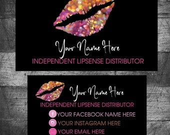 Lip sense Business Cards, SeneGence Business Card, LipSense Contact Cards, Lipsense Cards, Custom,Distributor, Printable, Digital Download