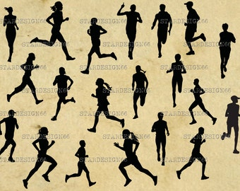 Digital SVG PNG JPG Running, men, women, sprinter, training, fitness, jogging, sport, silhouette, vector, clipart, instant download