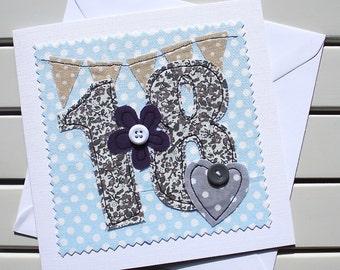 18th Birthday Card - Handmade - Machine Embroidered - 18 - Happy 18th Birthday