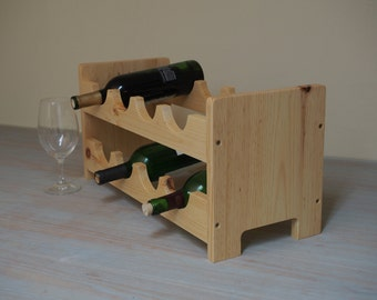 SALE! 40 % off.....Classic Natural Wood  (Real American Pine Wood) - Scalloped Wine Rack, 8 Bottles Hold