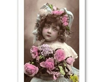 Personalised Handmade Greetings Card ~ Vintage Postcard of A Child  #13