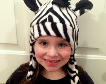 Zebra Fleece Hat, Child's Zebra Hat, Zebra, Fleece, Winter, Safari, Jungle, Animals, Fleece Hat, Zebra Print, Black and White, Costume