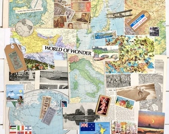 Travel Journal Scrapbooking Kit | Vintage Paper Pack | Holiday Travel Ephemera | Vintage Maps | Inspiration Kit | Travel Collage | Craftpack
