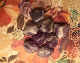 Chevron Amethyst Tumbled Stone-Amethyst Tumbled Stone-Healing Crystals-Metaphysical Supplies-Witchcraft Supples