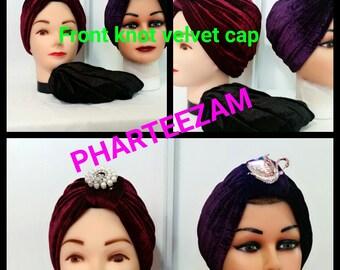 Front Knot Velvet Cap