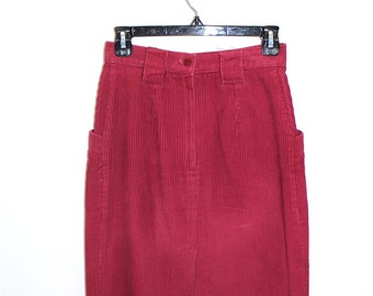 Vintage Clothing • Mid Length 1970's Corduroy Skirt • Hippie BoHo Chic • Raspberry Red • Made in Canada