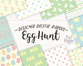 Easter Digital Paper Pack, Pastel Pattern Scrapbook Paper, Watercolor Spring Floral Paper, Instant Download, Easter Bunny Scrapbooking Paper