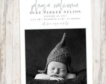Photo Birth Announcement, Newborn Baby Girl, Newborn Baby Girl, Printable, Newborn Announcement, Simple Design, New baby