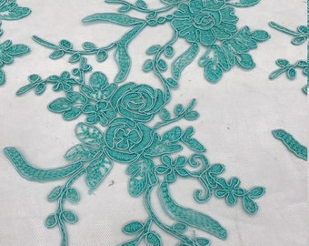 Teal Floral Lace Mesh Fabric by the yard