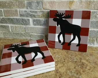 Handmade Moose Drink Coasters