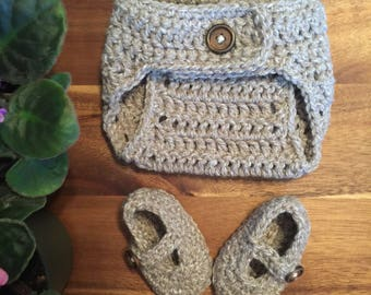 Handmade Crocheted Diaper Cover and Shoes, baby shower gift