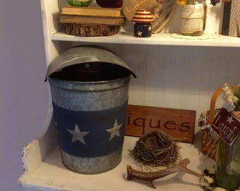 Authentic new england rustic sap bucket with rain cover/canvas wrap