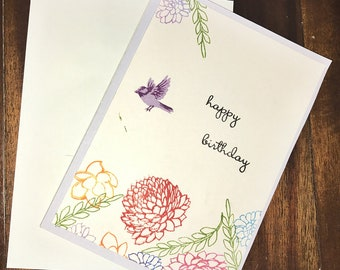 Birthday Card, Floral Greeting Card, Stamped Birthday Card, Bird Birthday Card