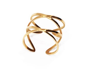 "Fine gold Adjustable ring ""intersections"""