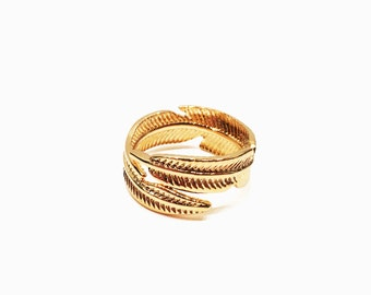 Adjustable ring Golden Feather