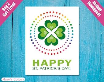 Happy St. Patrick's Day, Irish St Patrick's Greeting Card, DIY St. Patrick's Day Printable A2 card, St. Patrick's Day Card Buy 2 Get 1 FREE