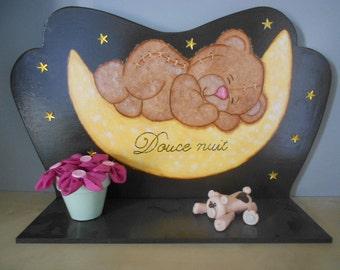"Decorative wooden shelf 100% handmade - ""ourson"" - chocolate"