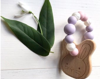 Bunny Teether Pink & lilac | Teething toy | Baby Gift |