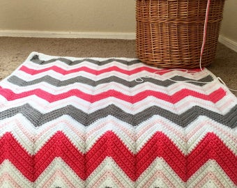 Pink and gray chevron crochet baby blanket