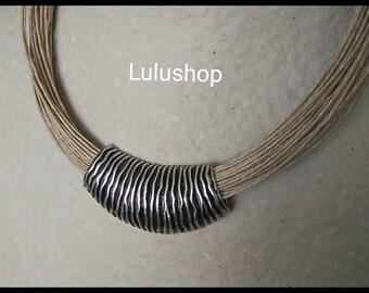 Natural linen thread necklace Pearl Zebra
