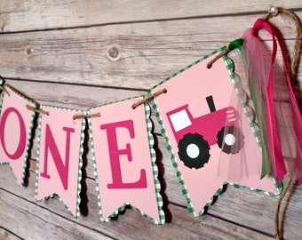 Gingham Pink Tractor High Chair Banner