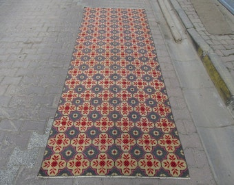 3.7x9.9 Ft Vintage one-of-a-kind decorative Turkish runner rug