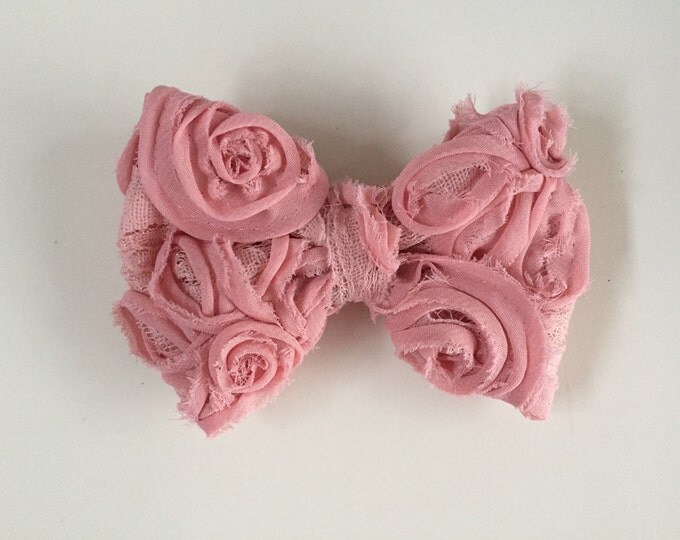 Dusty Rose fabric hair bow or bow tie