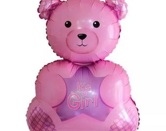 Its a girl teddy bear foil helium balloon