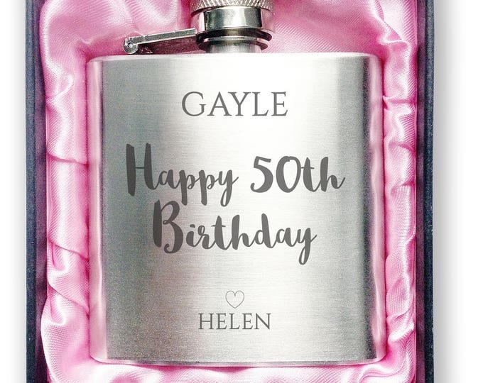 Personalised engraved 50TH BIRTHDAY stainless steel hip flask gift idea, handbag sized in a presentation box - 3SP50