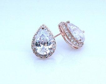 Adrienne - Rose Gold Bridal Teardrop Earrings, Bridal CZ Stud Earrings, Crystal Earrings, Stud Earrings, Cubic Zirconia, Bridesmaid Earrings