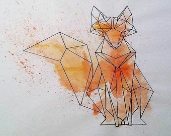 Original Fox, made with straight lines and water paint