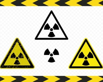 Radioactive sign SVG Cut files for Cricut Silhouette Shirt Wall Decal Clipart Dxf Pdf Png