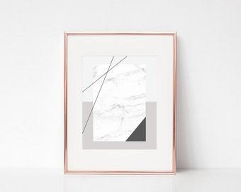 Minimalistic Beige White Marble Geometric Wall Art, Modern Printable Art, Modern Geometric Printable Poster, Marble Print Digital Print