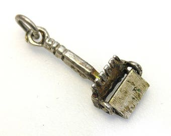 Vintage DUST PAN Movable Charm in Sterling Silver