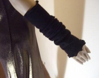 Long fingerless gloves-sleeves fancy 40 cm in beautiful soft black Alpaca yarn