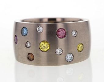 Spartted  treated multi colors diamond titanium ring