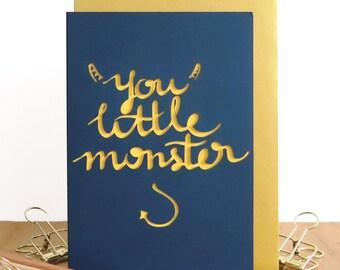 Boyfriend birthday card, Little monster card, Funny birthday card, Card for son, Card for daughter, Cute birthday card, Monster card