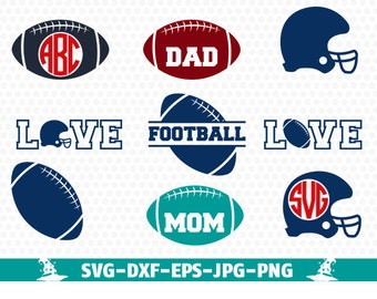 Football SVG Cut Files - Monogram, Clipart, Screen Printing