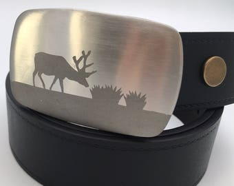Deer belt buckle Stainless steel belt buckle replaceable buckle gift for him cycling belt buckle silver buckle metal belt buckle
