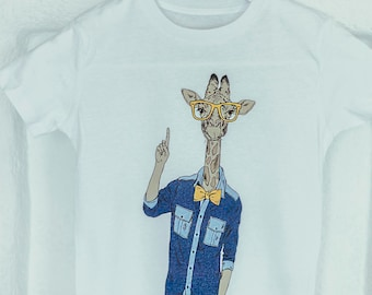 WANNA-KNOW JIRAFFE - T-shirt, Organic cotton, Hipster kids style
