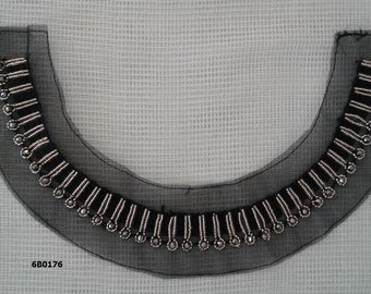 Gold beaded neck trim applique, black mesh, rhinestone applique