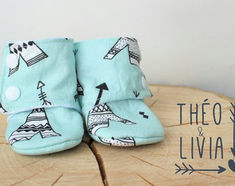 6-12 months - babies - baby - Tipi Mint - arrows slippers boots