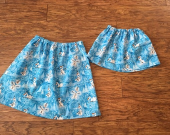 Disney Frozen Olaf skirt on a blue background fo toddler and girls