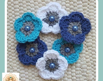 Blue Crochet Flowers, Crochet Flower Embellishments, Crochet Flower Appliques, 6 Blue Crochet Flowers