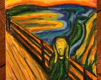 Scream Man - oil pastel drawing